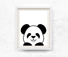 Panda illustration. Black and white peekaboo panda print. This listing contains HIGH RESOLUTION 8x10 and 11x14 digital files for INSTANT