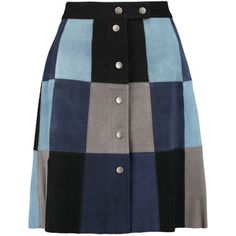 SEA Patchwork suede mini skirt