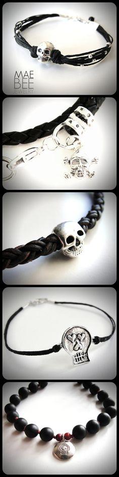 #Halloween is near...yes! #Skull #bracelets from JewelryByMaeBee on #Etsy. http://www.jewelrybymaebee.etsy.com