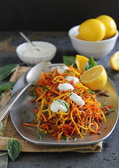Meyer lemon roasted carrot strings with lemon garlic sauce from @Gina | Running to the Kitchen