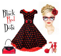 Black Red Retro Dots by modern-grease on Polyvore featuring Betty Black Big Red Dot Swing Dress by moderngrease.com