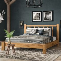 Loon Peak Abella Platform Bed Colour: Ready to Finish, Size: King Decor, Furniture, Home Bedroom, Eastern King Bed, Home Decor, Rustic Bedding, Bed, Bedroom Decor, Interior Design