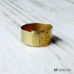 brass hammered handmade 27jewelry ring