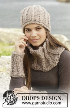 """Knitted DROPS hat, neck warmer and wrist warmers in false English rib in """"Polaris"""". ~ DROPS Design"""