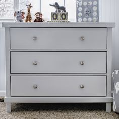 Features:  -Pewter knobs act as a beautiful.  -Meets or exceeds all US, Canada, and CPSIA standards.  Product Type: -Chest (Vertical).  Style: -Contemporary.  Finish: -Gray.  Frame Material: -Manufact