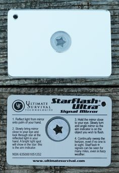 "Ultimate Survival Technologies Starflash Flottant Signal Mirror 2/""x3/"" 6-pack"