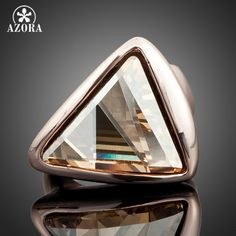 Rose Gold Plated Gold Color Triangle Stellux Austrian Crystal Ring TR0015