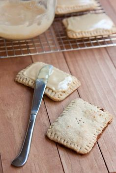 Healthier homemade maple-cinnamon oat Pop Tarts (oat flour and coconut oil used) Can fill with other things like fruits :)