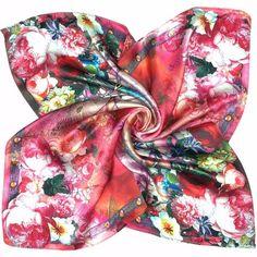 Elegantná malá šatka zo 100% hodvábu v Červenej farbe s kvetmi