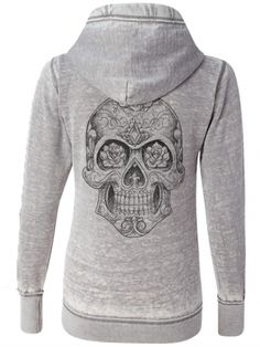 "Women's ""Sugar Skull"" Zip Up Hoodie by Fifty5 Clothing (Grey)"