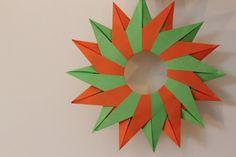 Tico Star - 16 Pointed (Design by Maria Sinayskaya) - DIY Origami Wreath, Origami Ball, Origami Stars, Origami Flowers, Origami Paper, Origami Boxes, Oragami, Origami Instructions, Origami Tutorial