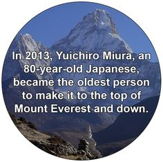 In 2013, Yuichiro Miura, an 80-year-old Japanese, became the oldest person to make it to the top of Mount Everest and down.