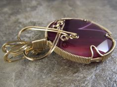 Wire-Wrapped Pendant Red Purple Magenta Onyx Agate & Gold Filled Wire - One of a Kind - Wirewrapped Wire Wrapped