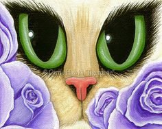 Items similar to Cat Fantasy Art Cat Painting Lavender Roses Green Eyes Fantasy Cat Art Limited Edition Canvas Print Art For Cat Lover on Etsy Cross Stitch Rose, Cross Stitch Kits, Cross Stitch Designs, Cross Stitch Patterns, Cat Art Print, Cat Prints, Fine Art Prints, Canvas Prints, Earth Design