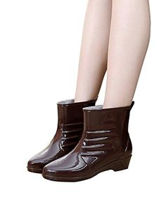 AYMYPL Womens Wedge Heel Over Ankle Waterproof Rubber Rain Boots Chocolate EU Size 40US 9 ** Visit the image link more details.