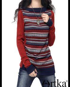 Aliexpress.com : Acquista Artka donna vintage o collo pieno manica contrasto di colore patchwork a righe vita sottile maglione di lana YB18036Q da Fornitori maglione giacca affidabili su Artka.
