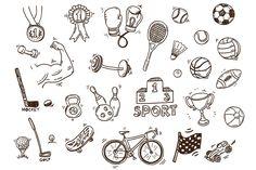 Hand drawn sport doodle set +bonus by Hala on @creativemarket