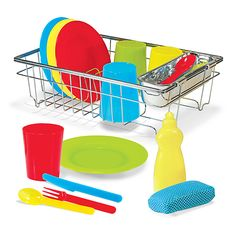 Let's Play House! Wash & Dry Dish Set: Add this set to a play kitchen or use as a stand-alone play set--either way, this appealing play set mimics the real-life objects and activities kids see around them, helping build social skills, encourage communication, and even get practice doing big-kid chores. BPA-free and dishwasher safe, the colorful pieces (in red, green, blue, and yellow) are perfect for real snack time, too!