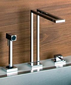 Gessi Duplice Faucets - new unusual geometric faucet designs http://www.tapforyou.co.uk/bathroom-sink-taps/led-bathroom-sink-taps/color-changing-led-waterfall-widespread-bathroom-sink-tap-chrome-finish-t8012f