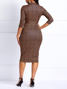 Church Dress Knee-Length V-Neck Geometric Women& Bodycon Dress Knee-Length V-Neck Geometric Women& Bodycon Dress African Print Dresses, African Print Fashion, African Fashion Dresses, African Attire, African Wear, African Dress, Short Gowns, Bodycon Dress Parties, Party Dresses
