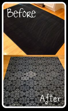Doing this!!  Forget paying $ 50-100+ for a rug! Buy a cheap one and decorate it yourself. This woman used a plain rug from Lowe's (only $ 24.98!), a stencil and white acrylic paint from Hobby Lobby (on sale!), and a foam roller. There are so many different color/design combinations you can use to inexpensively create a unique rug for your room.