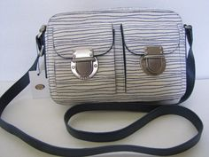 Genuine Fossil Leather Riley Print Crossbody Bag White Navy Zip Top & Dust Bag #Fossil #MessengerCrossBody