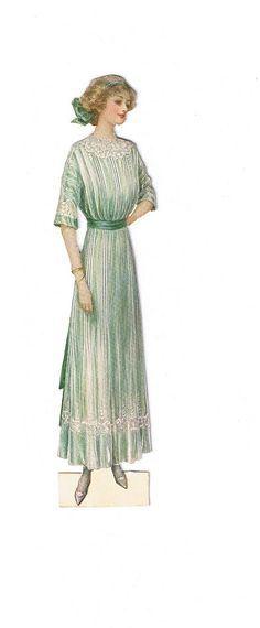 Vintage lady fashion, young woman wearing a green dress with white lace