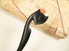 Exquisite Ebony Wood Hair Stick - Fox. $22.00, via Etsy.