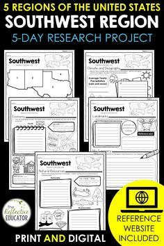 Southwest Region - one of the 5 regions of the United States - is a research project for students in grades 2-4. With this one easy lesson, your students can learn to complete a short research project. Included in this fun resource is a link to the Reference Website created exclusively for this project. The website is kid-friendly and ad-free. When you purchase Southwest Region, you get BOTH print and digital options making it easily compatible with Google Classroom™ and distance learning. Daily Lesson Plan, Lesson Plans, Reference Website, Create Website, Research Projects, Upper Elementary, Google Classroom, Social Studies, Teacher Pay Teachers
