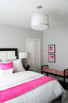 pink and Gray Bedroom | pink and grey bedroom. Super cute girls room!