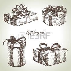 Set of gift boxes. Hand drawn illustration. Stock Photo - 16790069