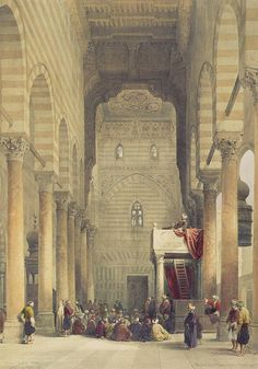 Interior of the mosque of the Metwalys (Metwalis) illustration by David Roberts - ancient antique architecture… Old Egypt, Cairo Egypt, Ancient Egypt, Life In Egypt, La Ilaha Illallah, Arabian Art, Islamic Paintings, Exotic Art, Fantasy City