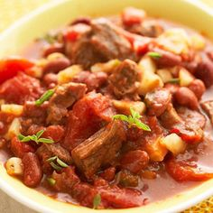From The diabetic living website:Beef and Bean Ragout      Hearty and colorful, this beef stew is sure to please. Hash brown potatoes and tomato sauce make it filling without adding too much carbohydrate.