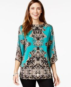 JM Collection Embellished Printed Top poly/spandex jade/black/white status szS 26.99 Sale thru 11/2