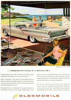 Oldsmobile Starfire 98 Coupe 1957 Lucky You - www.MadMenArt.com | Vintage Cars…