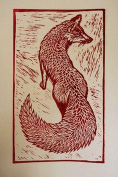 Items similar to Red Fox on Etsy - Items similar to Red Fox on Etsy Red Fox by WhatJoDidNext on Etsy, Lino Art, Woodcut Art, Linocut Prints, Art Prints, Block Prints, Gravure Illustration, Fox Illustration, Illustrations, Motifs Animal