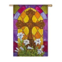 """""""Stained Glass Cross"""" Applique Seasonal Garden Flag; Polyester 12.5""""x18"""" - #happyeaster #easterbunny #easter #bunny #flagsaflying"""