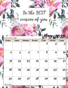 Free Printable 2020 Monday Start Monthly Motivational Calendars - new month new goals quotes May Calendar Printable, Calendar May, Blank Calendar, Calendar Pages, Desk Calendars, Calendar Quotes, Calendar Wallpaper, Free Printables, Setting Goals