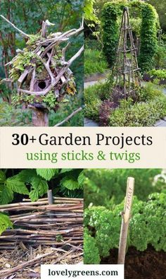 Creative garden features you can DIY for free using twigs, sticks, and branches. Ideas include trellises and plant supports as well as garden artwork #gardendiy #sticks #twigs #creativegardening