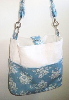 Purse  Handbag  Blue and Ivory Floral Tote Bag by reneesvanity, $35.00