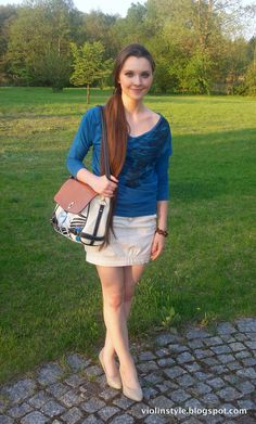 Zara mini skirt with pony shoulder bag and nude pumps