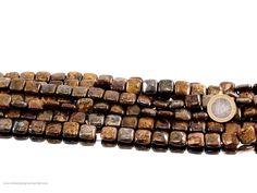 Edelstein Halskette mit braunen Achat Steinen in Quader Form