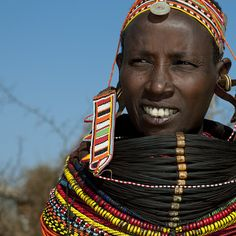 Rendille woman with beaded ornaments - Kenya  by Eric Lafforgue