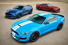 2017 Ford Mustang Shelby GT350 new colors Grabber Blue, Ruby Red, and Lightning Blue.