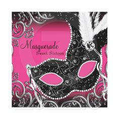 Hot Pink Black Mask Masquerade Party Custom Announcements for Sweet Sixteen…