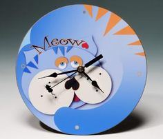Meow! Blue Cat Clock