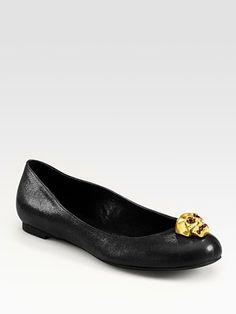 Alexander McQueen - Skull Leather Ballet Flats - Saks.com