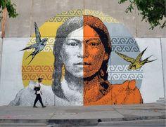 "street art NIGUANA & Aaron Biber, ""Martina Chapanay / Bartolina Sisa"" in San Juan, Argentina"