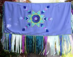 purple cool print satin fabric on the back side Native American Church, Native American Crafts, Native American Fashion, Fancy Shawl Regalia, Powwow Regalia, Crochet Dreamcatcher, Sew Mama Sew, Ribbon Skirts, Art N Craft