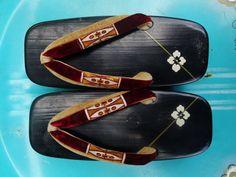 Vintage Handmade Geisha Wooden Shoes Geta Sandals by biscuitblues, $15.00